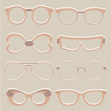 Vector set of cute eye glasses Royalty Free Stock Photos