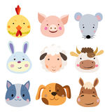 Vector Set of Cute Farm Animals and Pets Faces vector illustration