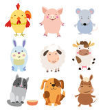 Vector Set of Cute Farm Animals and Pets Stock Photo