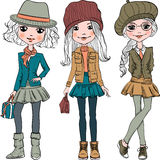 Vector set cute fashion hipster girl Royalty Free Stock Photo
