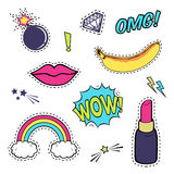Vector set with cute fashion patch badges: lips, speech bubble, rainbow, stars, diamond, bomb, lipstick, banana isolated on white. Royalty Free Stock Photography