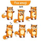 Vector set of cute fox characters. Set 5. Set kit collection sticker emoji emoticon emotion vector  illustration happy character sweet, cute red fox Royalty Free Stock Photography