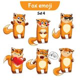Vector set of cute fox characters. Set 4. Set kit collection sticker emoji emoticon emotion vector  illustration happy character sweet, cute red fox Stock Photo