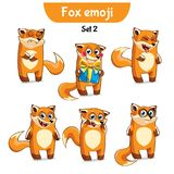 Vector set of cute fox characters. Set 2. Set kit collection sticker emoji emoticon emotion vector  illustration happy character sweet, cute red fox, foxy Royalty Free Stock Photos