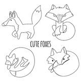 Vector set of cute foxes, autumn leaves and mushrooms. Hand draw fox for children's books. Royalty Free Stock Images
