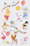 Vector set with cute funny animals in cartoon style. Giraffe, elephant, hippo, hedgehog, cat, lamb etc. Birthday elements Stock Image