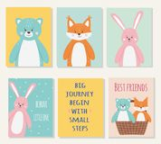 Vector set of cute funny fox, bear and hare animals stock illustration