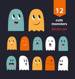 Vector set with cute ghosts. Collection of funny spooks with different emotions. vector illustration