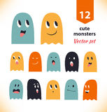Vector set with cute ghosts. Collection of spooks with different emotions. Royalty Free Stock Photography