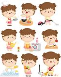 A vector set of cute girl doing her home cleaning activities. A vector set of cute girl doing her daily home cleaning activities vector illustration