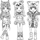 Vector set cute girls in funny hats Royalty Free Stock Photo