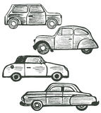 Vector set of cute hand-drawn retro cars Royalty Free Stock Photos