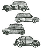 Vector set of cute hand-drawn retro cars Royalty Free Stock Photography