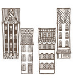 Vector set of cute hand-drawn tiled houses royalty free illustration