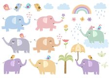 Vector set of cute isolated elephants. Great for baby shower and kids design. Elephants, birds, palm, clouds, flowers and rainbow Stock Images