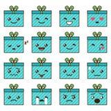 Vector set of cute kawaii emoji Stock Photography