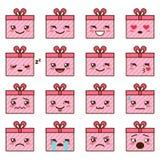 Vector set of cute kawaii emoji Royalty Free Stock Images
