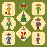 Vector set of cute kids in masquerade costumes, flat design stock illustration