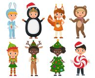 Vector Set of cute kids wearing Christmas clothes costumes. Royalty Free Stock Photos