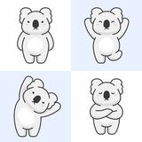 Vector set of cute koala bear characters royalty free illustration