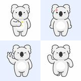 Vector set of cute koala bear characters stock illustration