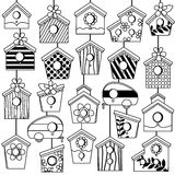 Vector Set of Cute Line Art Birdhouses Stock Image