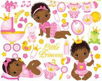 Vector Set with African American Baby Girls Dressed as Princesses. Vector set with cute little African American baby girls dressed as princesses, stroller, toys Stock Image