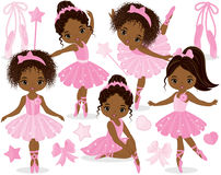 Vector Set with Cute Little African American Ballerinas. Bows and ballet shoes. Vector ballerinas in pink tutu dresses. African American ballerinas vector vector illustration