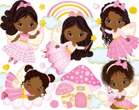 Vector Set with Cute Little African American Fairies and Nature Elements Royalty Free Stock Photos
