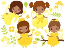 Vector Set of Cute Little African American Fairies and Nature Elements Stock Photography