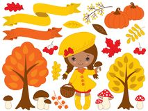 Vector Set with Cute Little African American Girl and Autumn Elements stock illustration