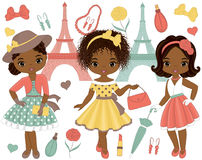 Vector Set with Cute Little African American Girls in Retro Style and Eiffel Tower. Vector set with cute little African American girls in retro style and fashion Stock Images