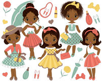 Vector Set with Cute Little African American Girls in Retro Style. And fashion accessories. Vector fashion African American girls. Pin-up little girls vector Royalty Free Stock Photography