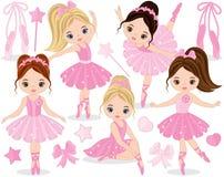 Vector Set with Cute Little Ballerinas. Bows and ballet shoes. Vector little ballerinas in pink tutu dresses. Little ballerinas vector illustration Stock Photo