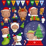 A vector set of cute bear in various poses and costume for christmas celebration vector illustration