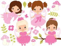 Vector Set of Cute Little Fairies and Nature Elements Stock Photos