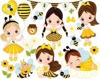 Vector Set with Cute Little Girls, Bees, Honey, Balloons and Flowers. Vector set with cute little girls dressed in bee style, cartoon bees, flowers, balloons vector illustration