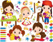Vector Set with Cute Little Girls and Paint Elements. Vector Little Artists Royalty Free Stock Photos