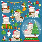 A Vector Set of Cute Llama Wearing Christmas Stuffs and Decorations royalty free stock photo