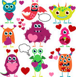 Vector Set of Cute Love Monsters Stock Images