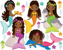 Vector Cute Little Mermaids with Marine Animals. Vector African American Mermaids. Vector set with cute mermaids, dolphin, fur seal, fish, starfish, jellyfish stock illustration