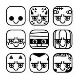 Vector set of cute monster icons in flat design style. Ghost, Werewolf, Frankenstein, Skeleton, Mummy, Pumpkin, Devil, Vampire, Zombie. Line art buttons style Stock Photo