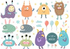 Vector set of cute monsters. Funny characters isolated elements. Vector illustration Royalty Free Stock Image