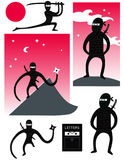 Vector set of cute ninjas. In various poses Vector Illustration