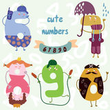 Vector set-cute numbers.All numbers are very cute characters 6,7 Stock Images
