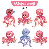 Vector set of cute octopus characters. Set 3. Set kit collection sticker emoji emoticon emotion vector isolated illustration happy character sweet, cute pink Royalty Free Stock Photos