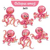 Vector set of cute octopus characters. Set 5. Set kit collection sticker emoji emoticon emotion vector isolated illustration happy character sweet, cute pink Stock Images