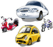 Vector set of cute old broken vehicles: limousine, old moped, broken bicycle, smashed car bug Stock Images