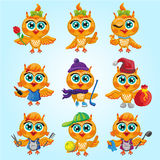 Vector set of cute owls. Cartoon characters of different professions. Stock Photo