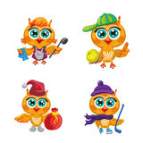 Vector set of cute owls. Cartoon characters  different professions. Royalty Free Stock Photography